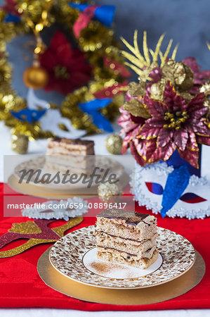 Festive Opera Cake with edible golden glitter.
