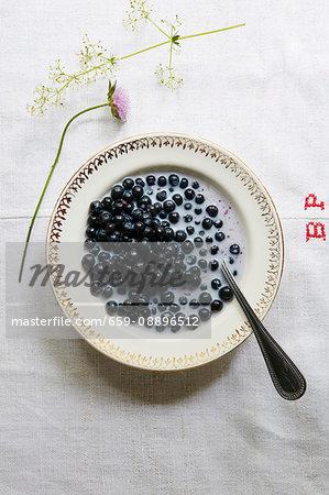 Blueberries with milk on linen