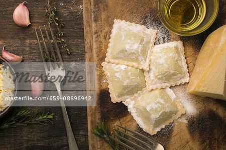 Handmade ravioli stuffed with parmigiano cheese and chicken