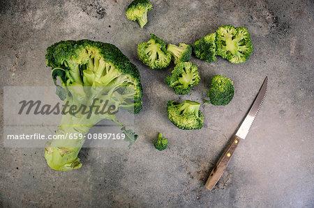 Cut broccoli tops