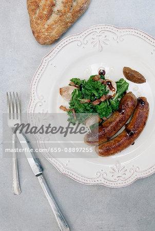 Italian sausage with kale salad