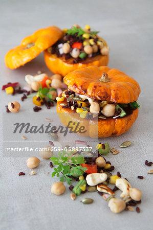 Vegetarian stuffed mini roasted pumpkins
