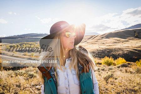 Woman hiking, Trans Canada Highway, near Kamloops, Boston Flats, British Columbia, Canada
