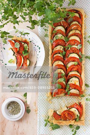 Tomato & courgette tart with oregano