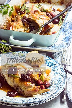 Maltese rabbit roasted with olives, rosemary and garlic