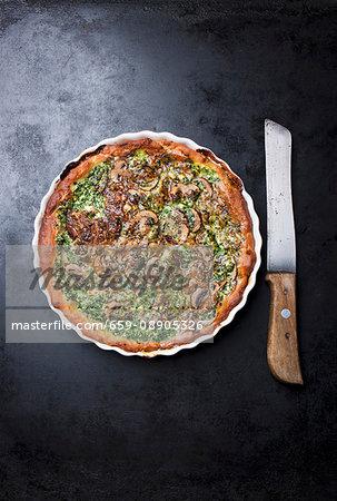 Spinach, mushroom & ricotta quiche