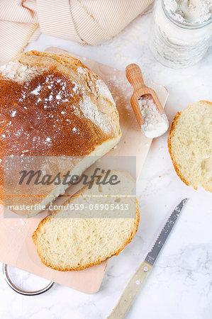 Home-baked white bread