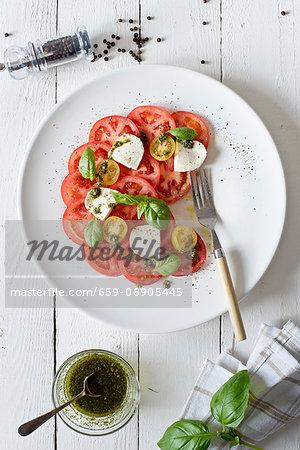 Capresse salad, half-eaten