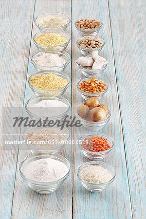 Different types of gluten-free flour