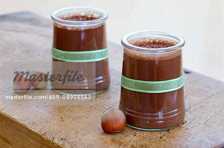 Chocolate & hazelnut flan in glasses