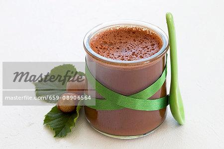 Chocolate & hazelnut flan in a glass