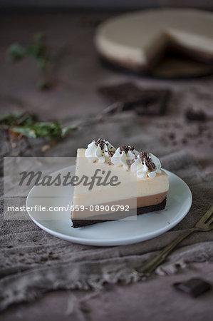 A slice of triple-layered chocolate cake