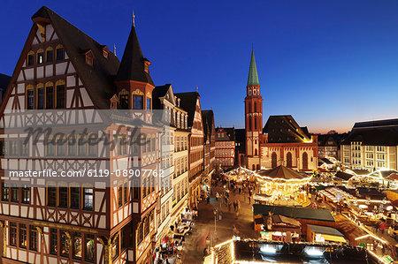 Christmas fair at Roemer, Roemerberg square, Nikolaikirche church, Frankfurt, Hesse, Germany, Europe