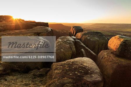 Curbar Edge, at sunrise on a frosty winter morning, Peak District National Park, Derbyshire, England, United Kingdom, Europe