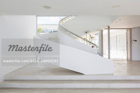 White spiral staircase in modern luxury home showcase interior