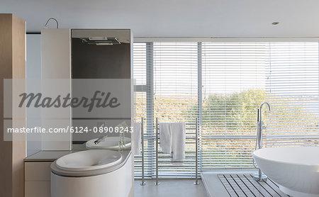 Modern luxury home showcase interior bathroom with soaking tub and sink