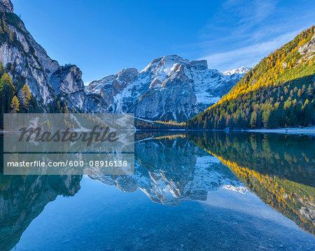 Croda del Becco (Seekofel) reflected in Braies Lake in autumn, Prags Dolomites, South Tyrol, (Bozen Province) Trentino Alto Adige, Italy