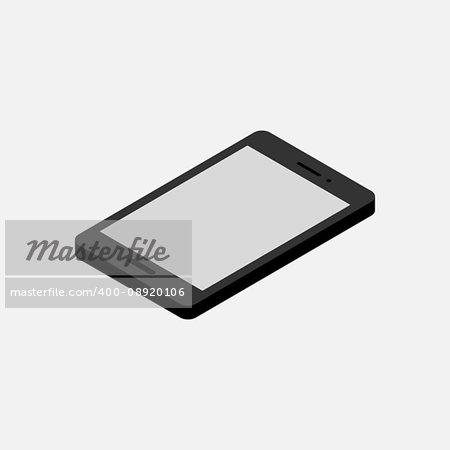 Smapt phone isometric. Mobile phone mockup