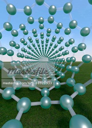 Molecular model of Carbon nanotube. Computer artwork.