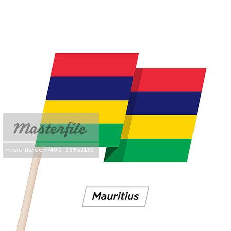 Mauritius Ribbon Waving Flag Isolated on White. Vector Illustration. Mauritius Flag with Sharp Corners