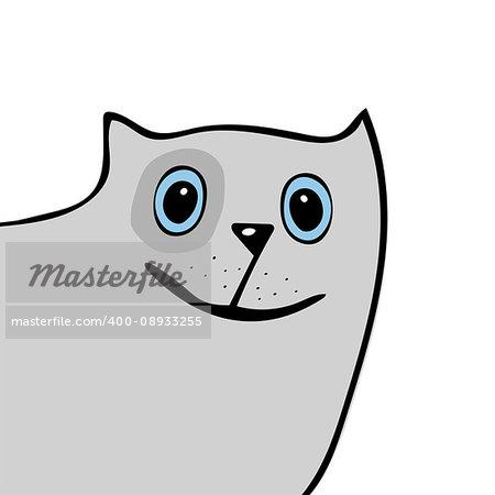 Cat cute funny cartoon head. Vector illustration