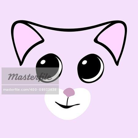 Kitty cute funny cartoon cat head. Vector illustration