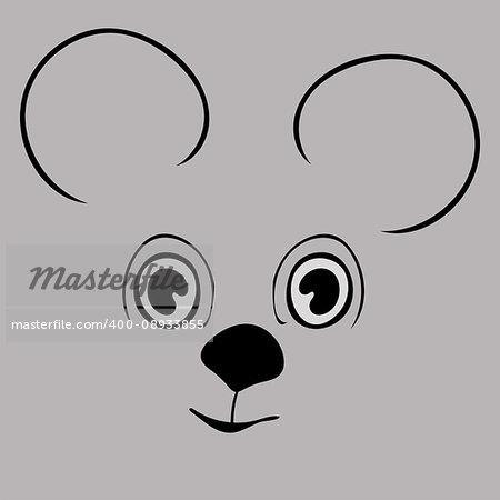 Mouse cute funny cartoon head. Vector illustration