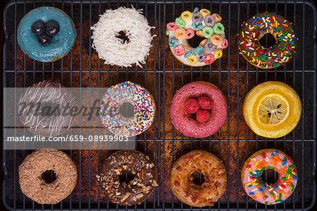 Various decorated doughnuts