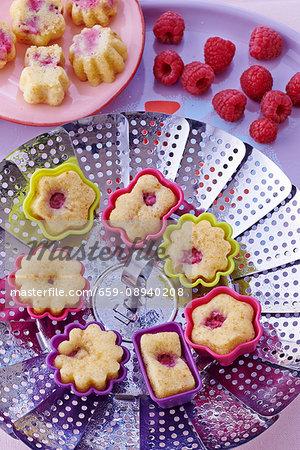 Steamed mini raspberry clafoutis