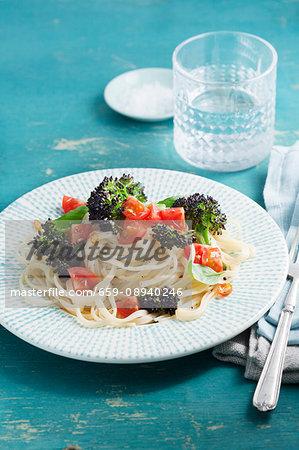 Linguine with purple broccoli, tomatoea, chilli and basil