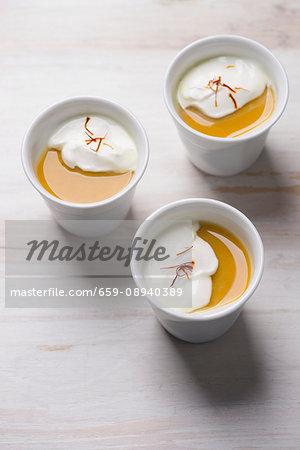 Turmeric panna cotta with coconut cream and saffron