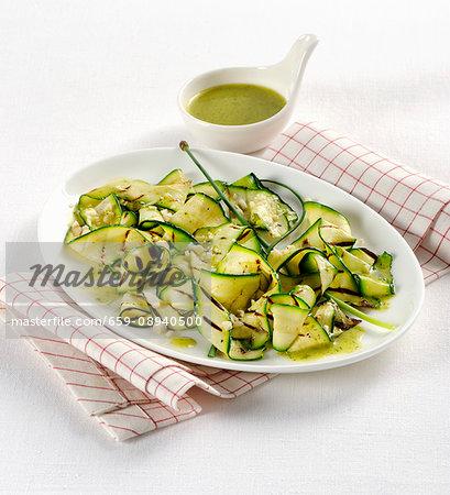 Warm courgette salad