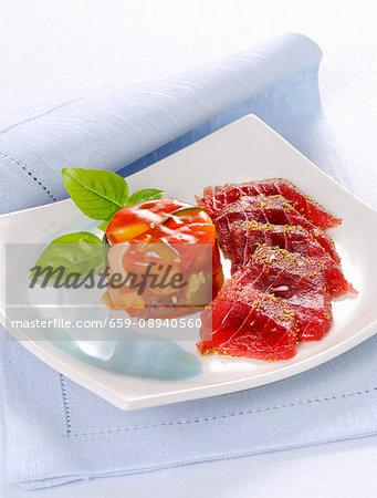 Raw tuna fish with a ratatouille jelly