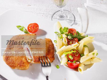Cordon bleu and pasta salad