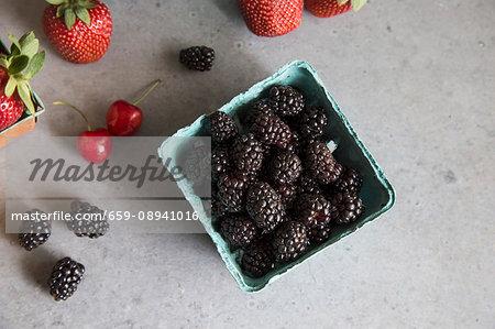 Blackberries, strawberries and cherries