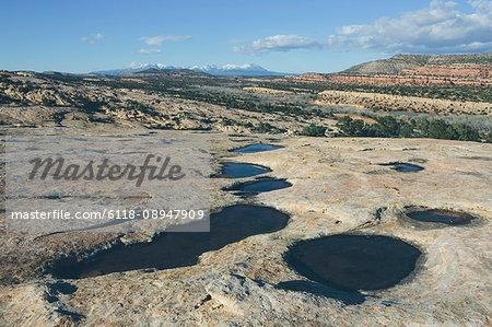 Water pools, rock depressions on Comb Ridge, Bears Ears National Monument, Utah