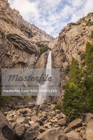 Rock face waterfall, Yosemite National Park, California, USA