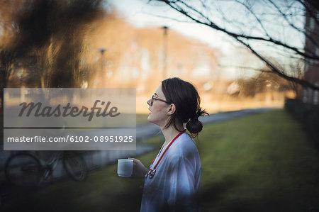 Female doctor enjoying coffee