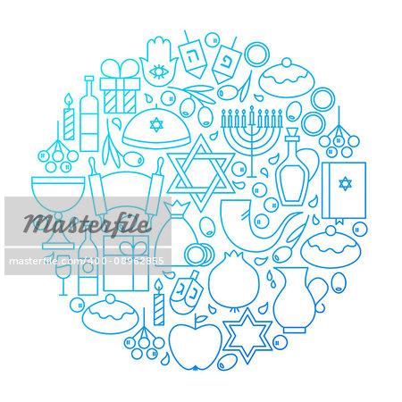 Hanukkah Line Icon Circle Design. Vector Illustration of Jewish Winter Holiday Objects.