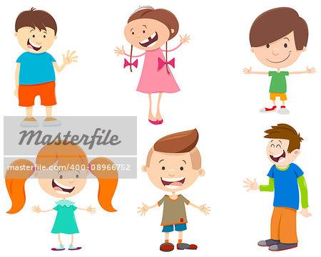 Cartoon Illustration of Cute Kids Characters Set