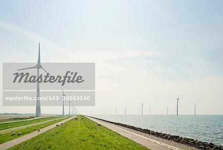 On and off shore wind turbines at IJsselmeer lake, Netherlands