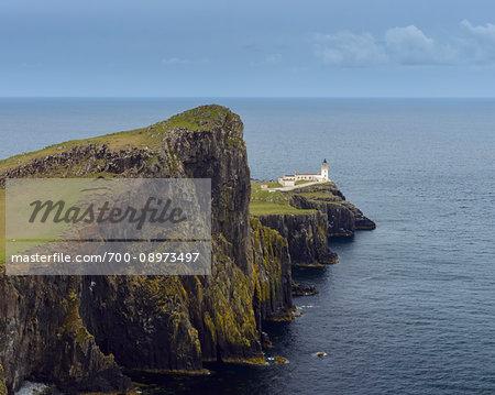 Scottish coast with Neist Point Lighthouse on the Isle of Skye in Scotland, United Kingdom