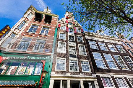 Traditional buildings in Chinatown at Geldersekade in Amsterdam, Holland