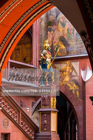 Statue of the Historic Roman senator, Lucius Munatius Plancus and frescoes at the Basel Town Hall (Rathaus), Basel, Switzerland