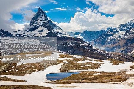 The Matterhorn summit in spring near Zermatt, Switzerland