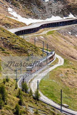 The Gornergrat Train winding up the mountain at Zermatt, Switzerland