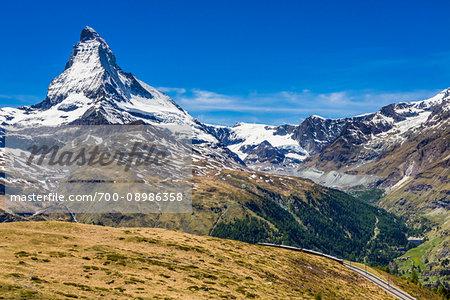 Overview of the Swiss Alps with the Matterhorn mountain summit at Zermatt, Switzerland