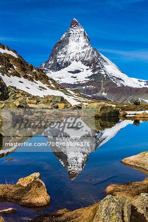 The Matterhorn reflected in a lake near Riffelsee at Zermatt, Switzerland