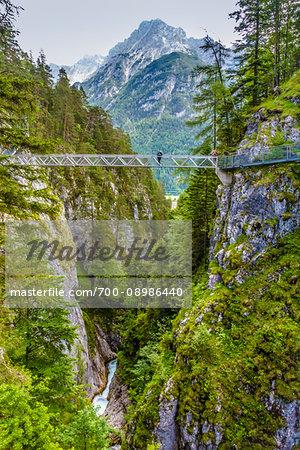 The Panorama Bridge over the Leutasch Spirit Gorge (Leutascher Geisterklamm) in Leutasch, Austria.