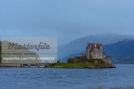 Eilean Donan Castle on a foggy day near Kyle of Lochalsh in Scotland, United Kingdom